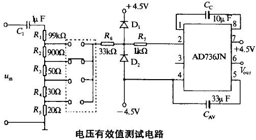 由于ad736的输入范围限制,电路中需调压装置,由r 到r 来完成.