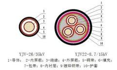 26/35kV及以下交联聚乙烯绝缘电力电缆结构图