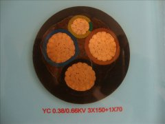 YC 0.38/0.66KV 3*150+1*70通用橡套电缆