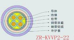 KVVP2-22铜芯聚氯乙烯绝缘聚氯乙烯护套铜带屏蔽钢带铠装控制电缆